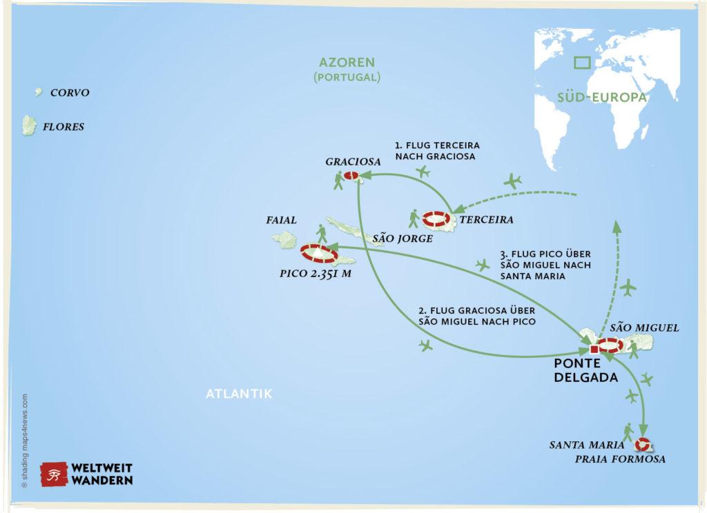 Azoren Karte.Portugal Inselhüpfen Auf Den Azoren